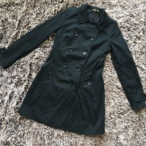 Banana republic trench coat jacket black sz XS